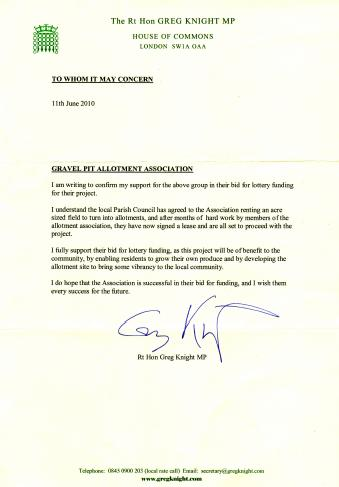 Letter from The Rt Hon Greg Knight MP shows support